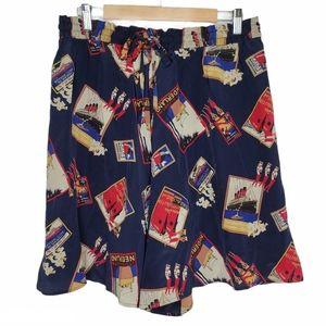 JH Collectibles Navy Silk Print Highrise Shorts 16